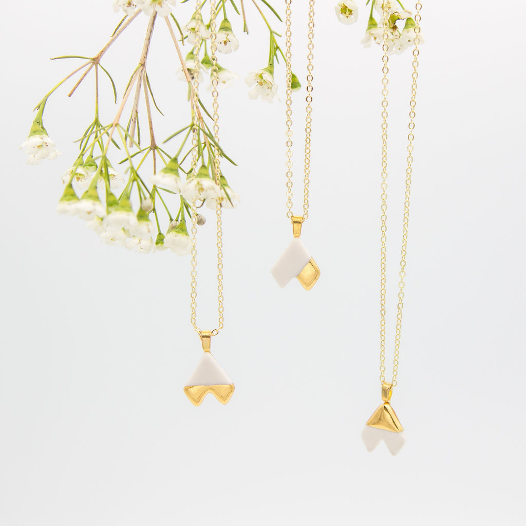 Gold + White Arrow Pendant