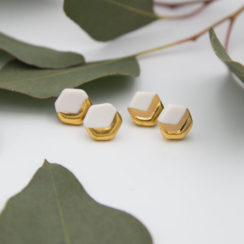 Gold + White Hexagon Chevron Earrings