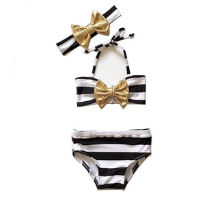 GOLD DUST BIKINI WITH BOW (3PC SET) - Elsa Bella Baby