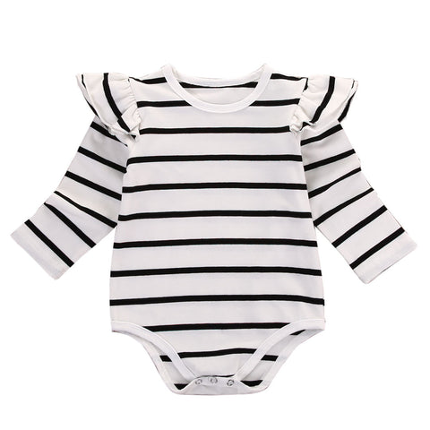 EVERLY STRIPED LONG SLEEVE ROMPER - Elsa Bella Baby