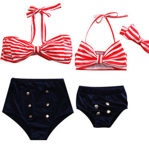 Image of MOMMY & ME HIGH WAISTED SWIMMING SUIT (RED STRIPE)