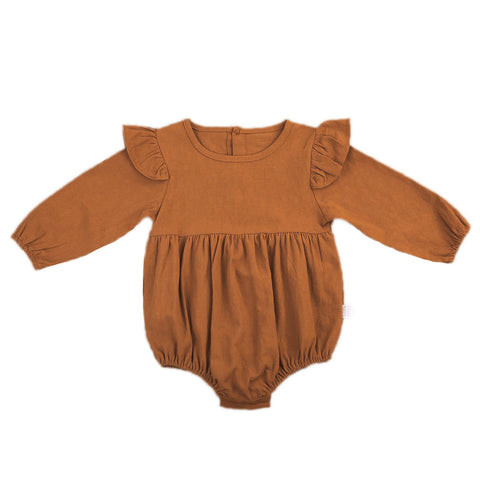 Image of Autumn baby girl long sleeve romper