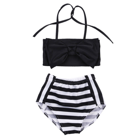 Image of HIGH WAISTED STRIPED SWIMSUIT - Elsa Bella Baby