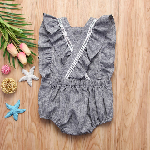 RUFFLE APRIL ROMPER - Elsa Bella Baby