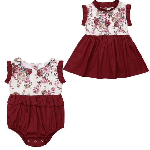 Image of Gemma Big Sis & Lil Sis Matching Romper/Dress - Elsa Bella Baby