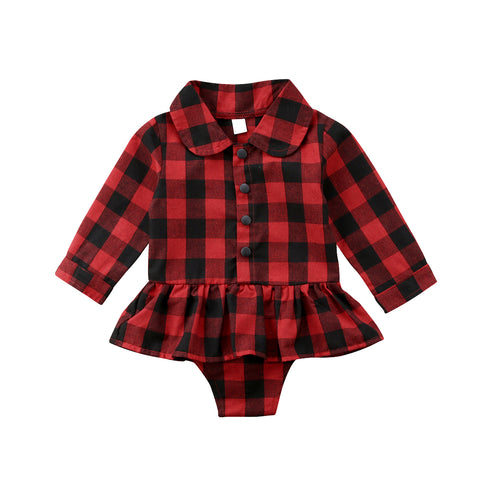 Image of Rebecca Red Plaid Romper Shirt