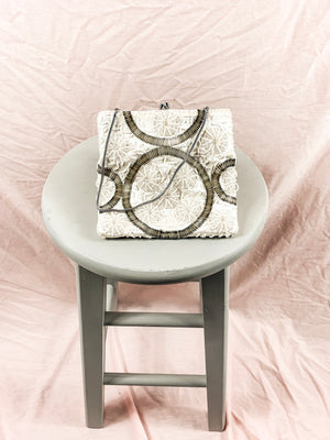 Vintage Fully Beaded Cream and Silver Purse