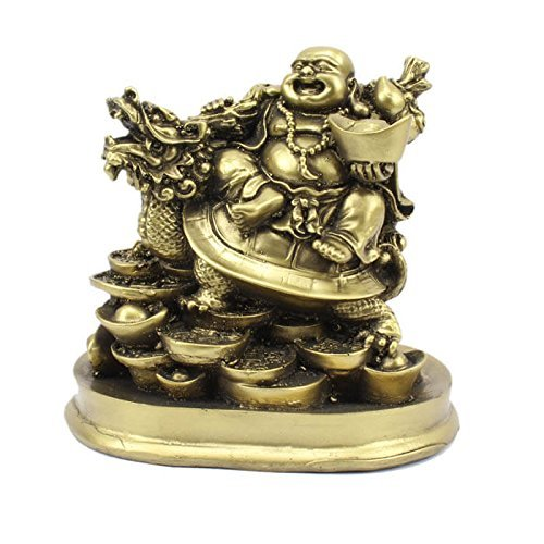 Fengshui Laughing Buddha Riding on Dragon and Ingot (5 inches)