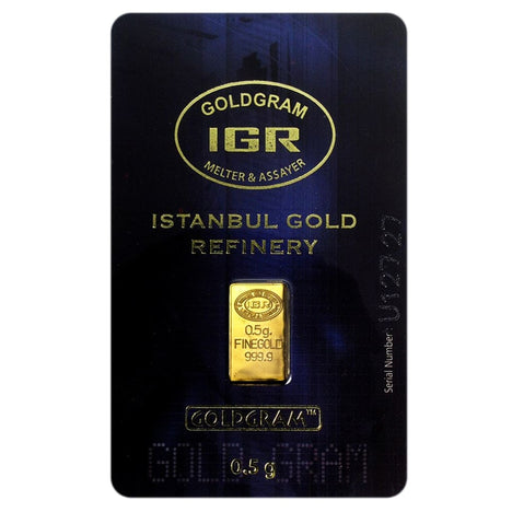 1/2 Gram .9999 Gold Bar - Istanbul Gold Refinery