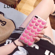 LUDI 3D Cute Glitter Love Heart Case For IPhone 8 7 7Plus Hipster Soft TPU Grey Pink & Res Fundas For Iphone 6 6s 6Plus 6sPlus