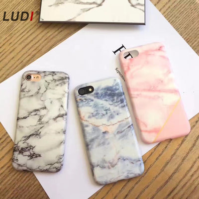 "LUDI For IPhone 8 7 7plus Case Marble Pattern Light Blue Pink Grey Color Soft TPU Cover For IPhone 6 6s 4.7"" 6plus 6splus 5.5"""