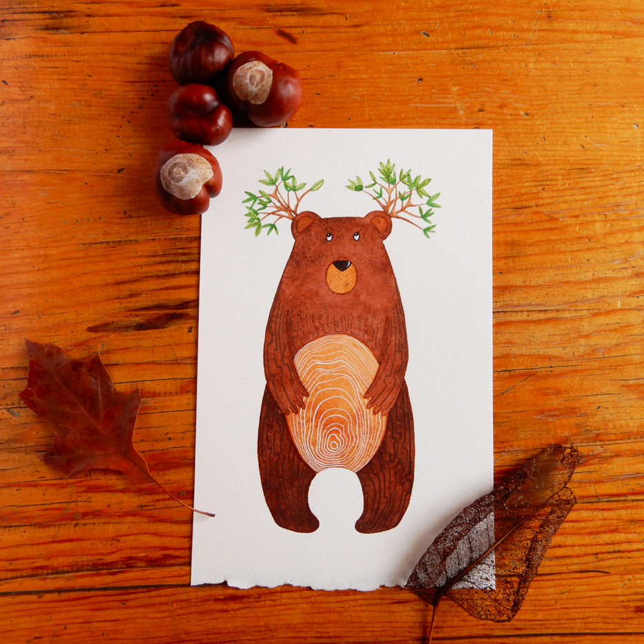 Tree Bear watercolour art