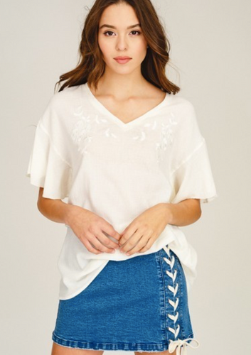Flutter sleeve Embroidered Tee *FINAL SALE*