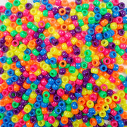 Neon Multi-color Mix Plastic Pony Beads 6 x 9mm, 500 beads