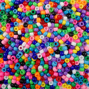 6 x 9mm Plastic Pony Beads in a mix of opaque colors