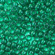 emerald green glitter 6 x 9mm plastic pony beads in bulk
