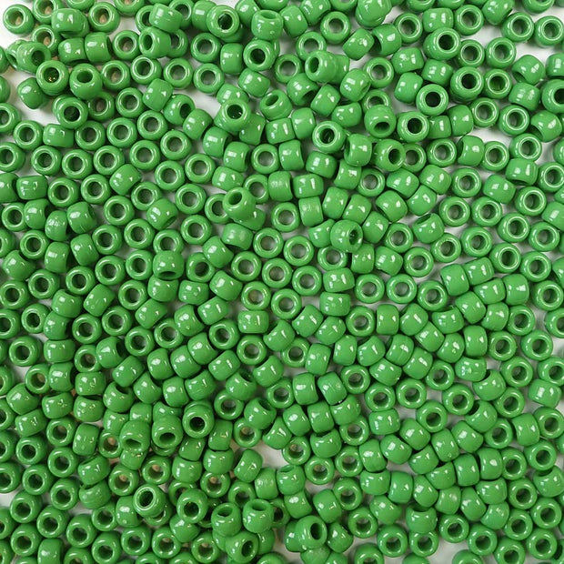 6 x 9mm plastic pony beads in pea green