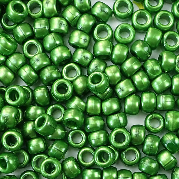 green pearl 6 x 9mm plastic pony beads in bulk
