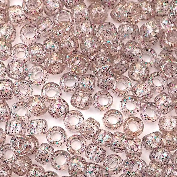 multicolor glitter 6 x 9mm plastic pony beads in bulk