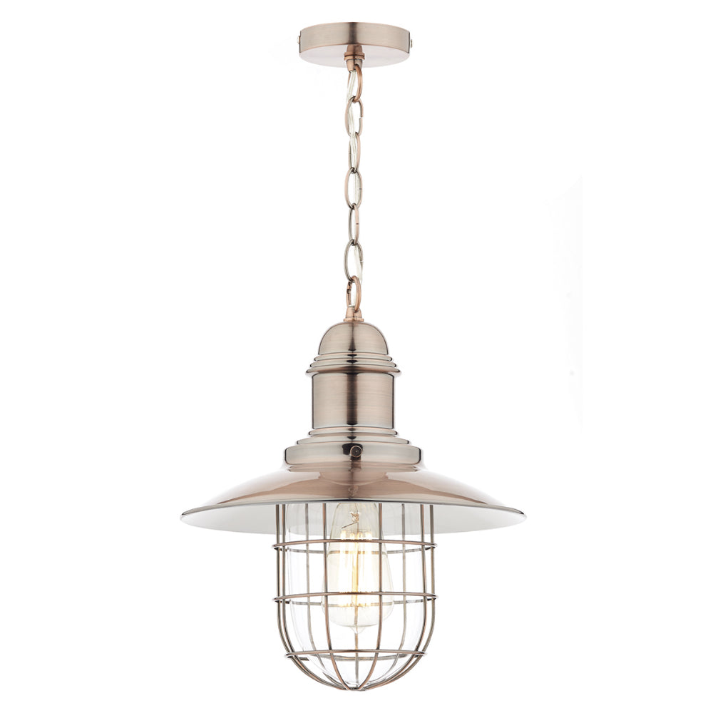 där Lighting TER0164 Terrace Single Light Copper Pendant Ceiling Light