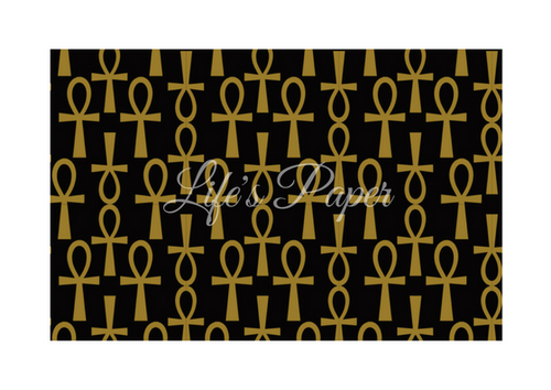 Ankh Greeting Card-Black and Gold (single greeting card)