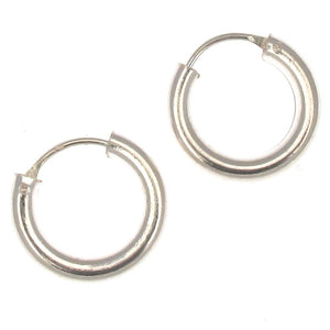 Sterling Silver Chunky Look Hoop Earrings | 14mm