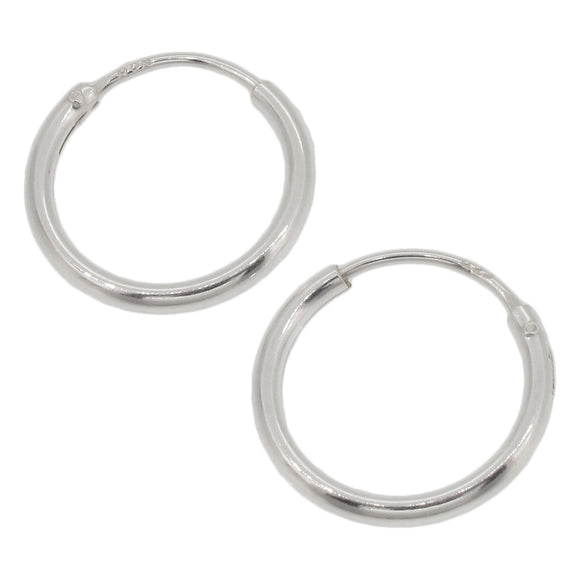 Sterling Silver Plain Hoop Earrings | 12mm