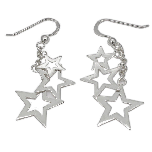 Sterling Silver Hanging Stars Drop Earrings