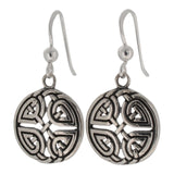 Sterling Silver Celtic Disc Drop Earrings with Oxidized Detail