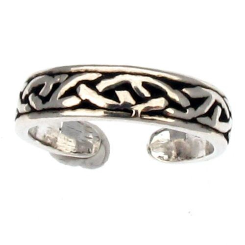 Sterling Silver Celtic Design Toe Ring - Smooth Edge