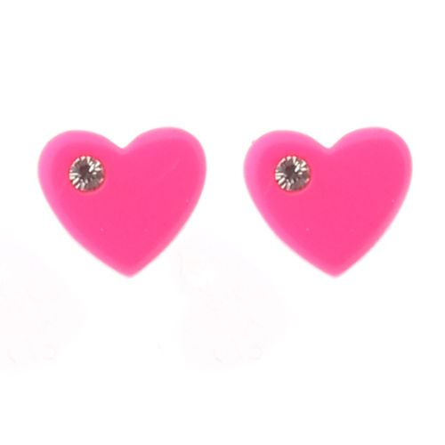 Sterling Silver and Resin Pink Heart Stud Earrings with Crystal