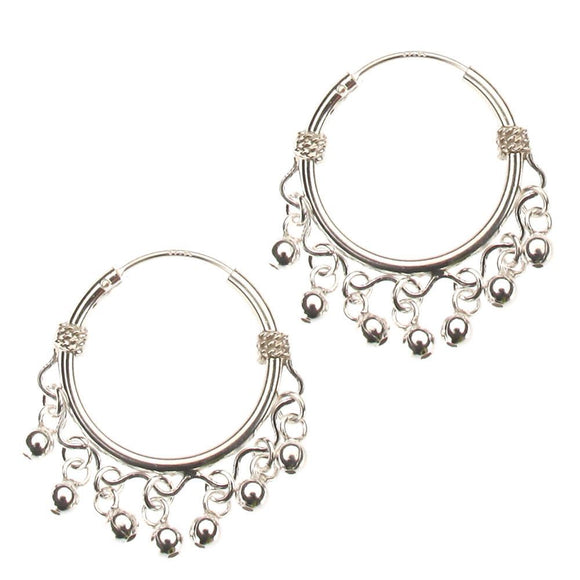 Sterling Silver Hoop Earrings with Dangling Beads