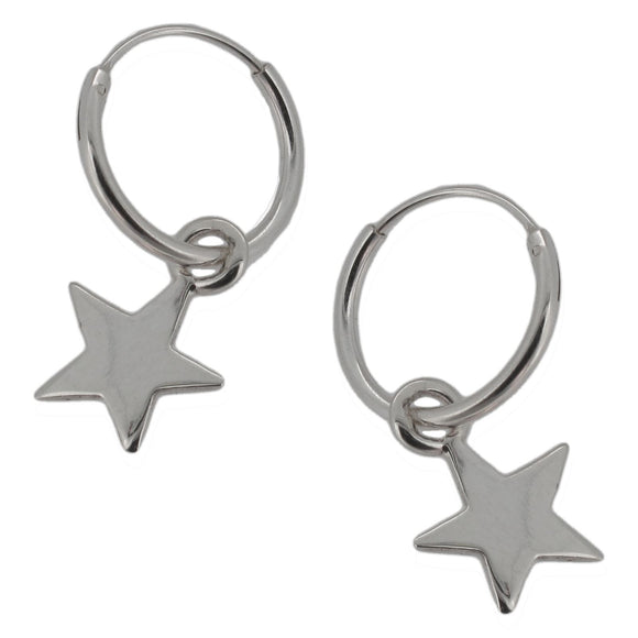 Sterling Silver Hoops with Dangling Star Charm