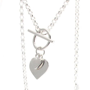 Sterling Silver Belcher Chain with T-Bar and Hearts