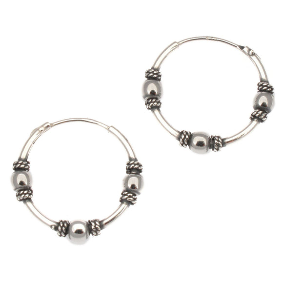 Sterling Silver Indo Bali Style Hoop Earrings with 3 Balls