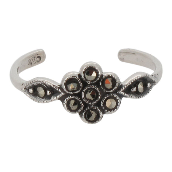 Sterling Silver Flower Toe Ring with Marcasite