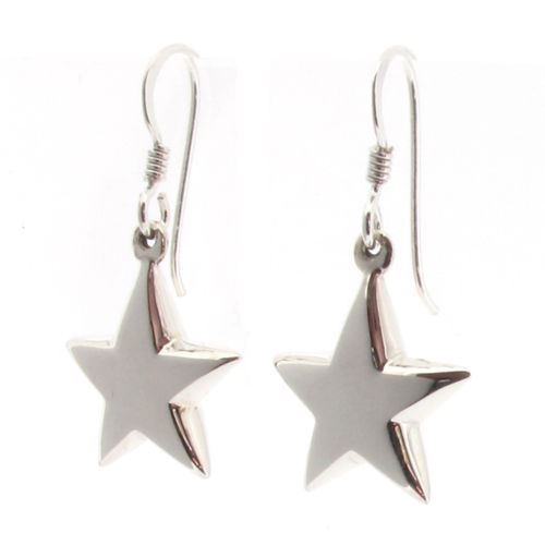Sterling Silver Dangling Star Drop Earrings