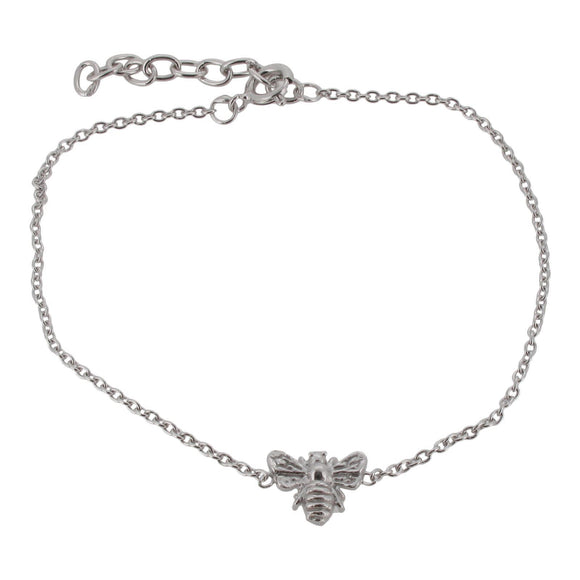 Sterling Silver Fine Link Bracelet with Bee Charm