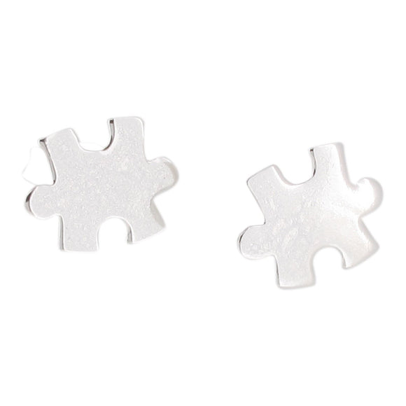 Sterling Silver Jigsaw Stud Earrings