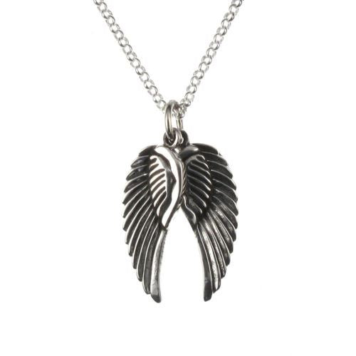 Sterling Silver Double Angel Wings Pendant and Chain