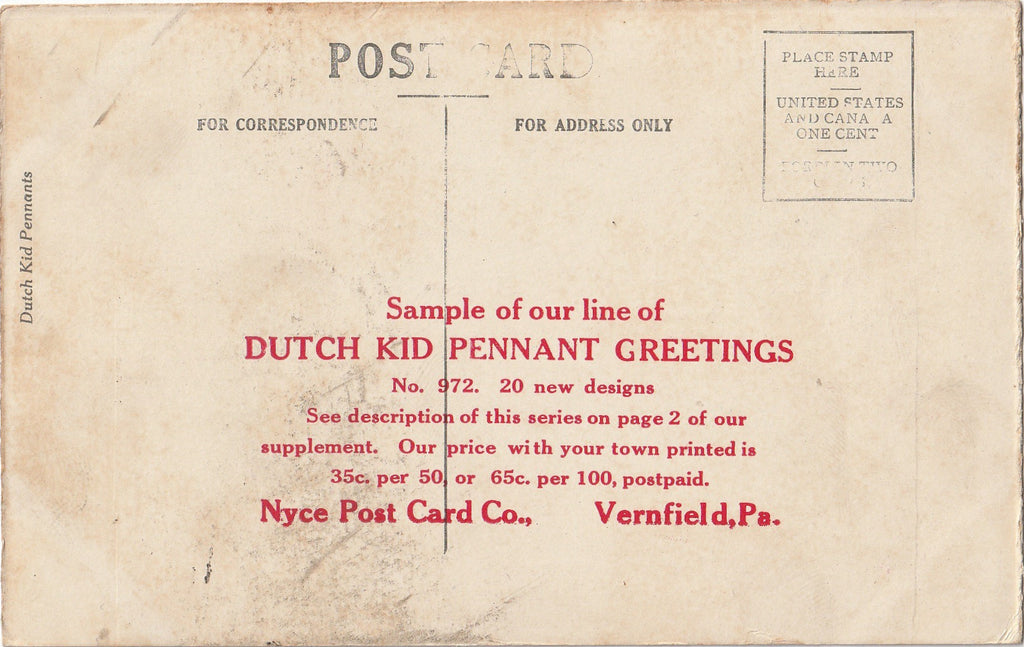 Are You Waiting Till I'm Dead Dutch Kid Pennant Plainfield Postcard Back
