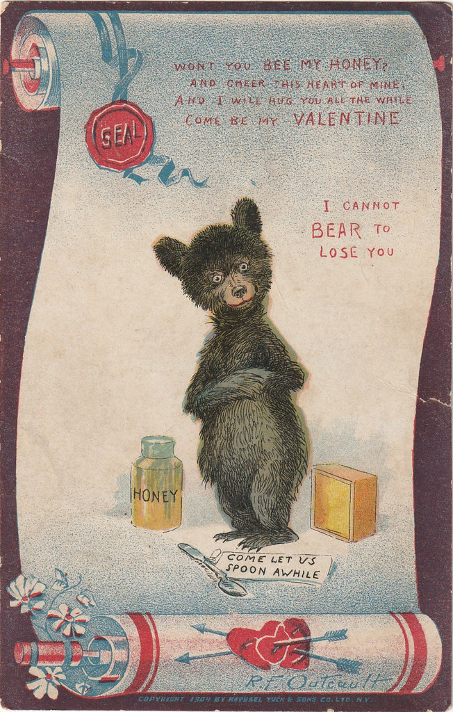 Bee My Honey Can't Bear To Lose You R F Outcault Antique Postcard