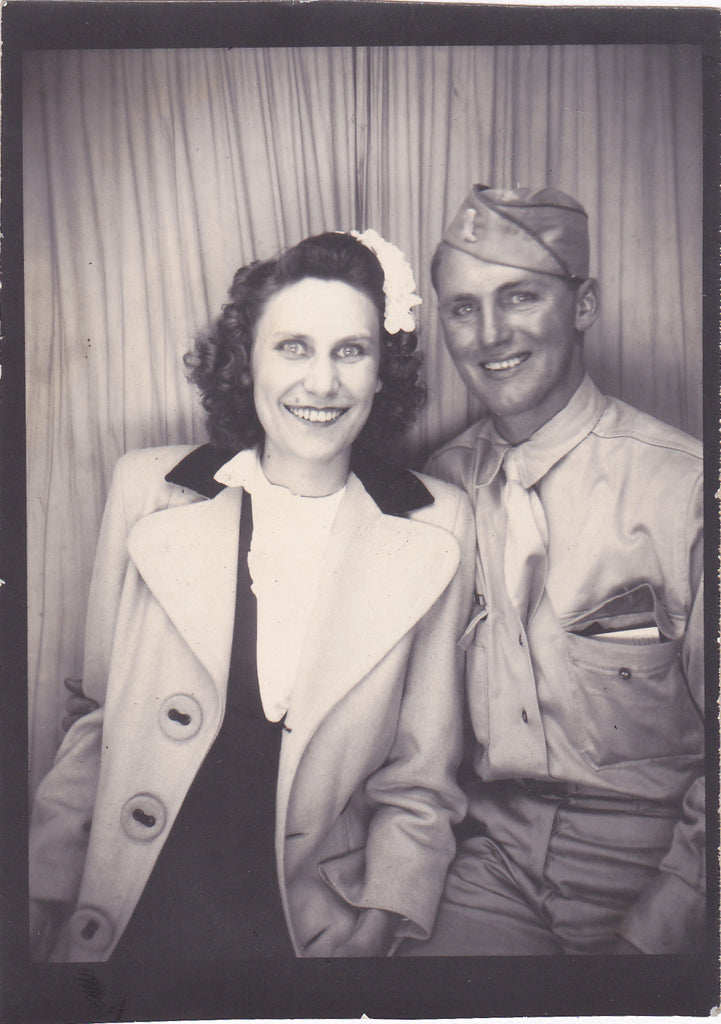 WW2 Soldier and Blue-Eyed Beauty Photo Booth Portrait