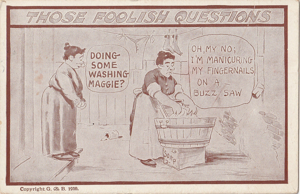 Buzz Saw Manicure Laundry Day Antique Postcard