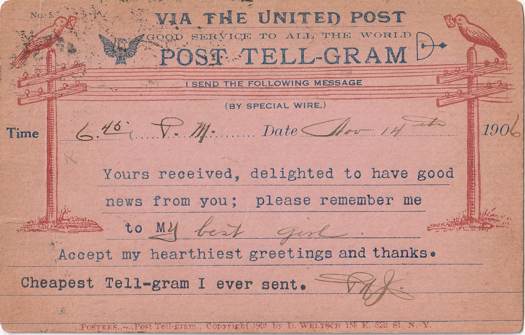 Cheapest Telegram Tell-Gram Antique Postcard