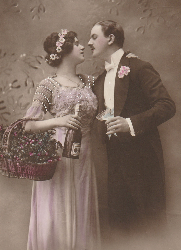 Cheers Darling Antique New Year RPPC Close Up