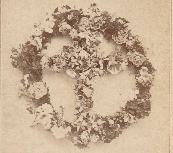 Cross of Flowers - Memorial Wreath - CDV Photo, c. 1800s