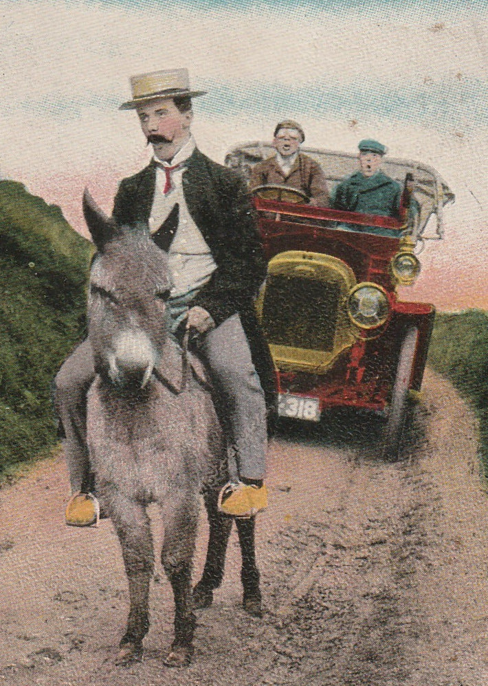 Hurry Up You Two in Front Antique Postcard Close Up 2