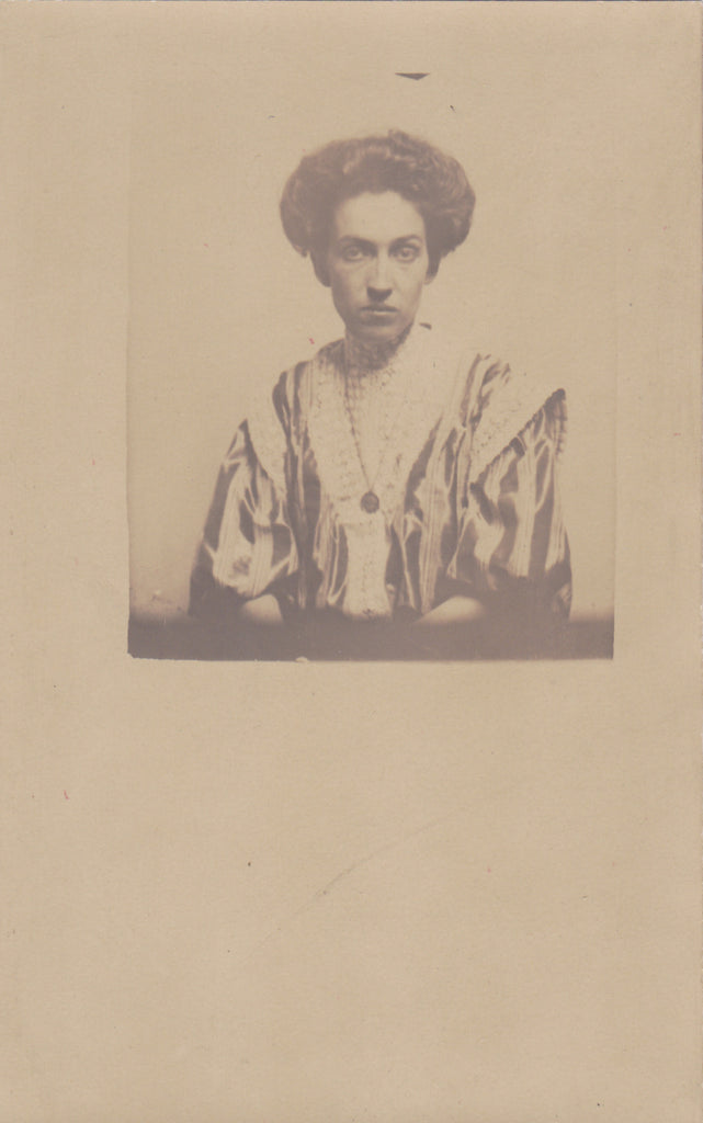 How Vexing- 1900s Antique Photograph- Edwardian Woman- Denver, Colorado- Striped Shirtwaist- Real Photo Postcard- PMO RPPC