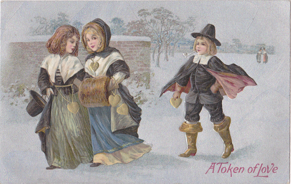 A Token Of Love- 1910s Antique Postcard- Pilgrim Romance- Edwardian Valentine- Heart of Gold-